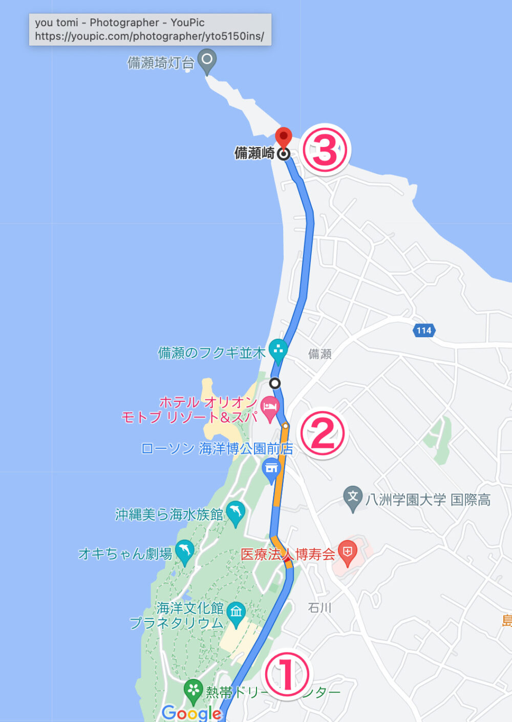 沖縄ルート地図